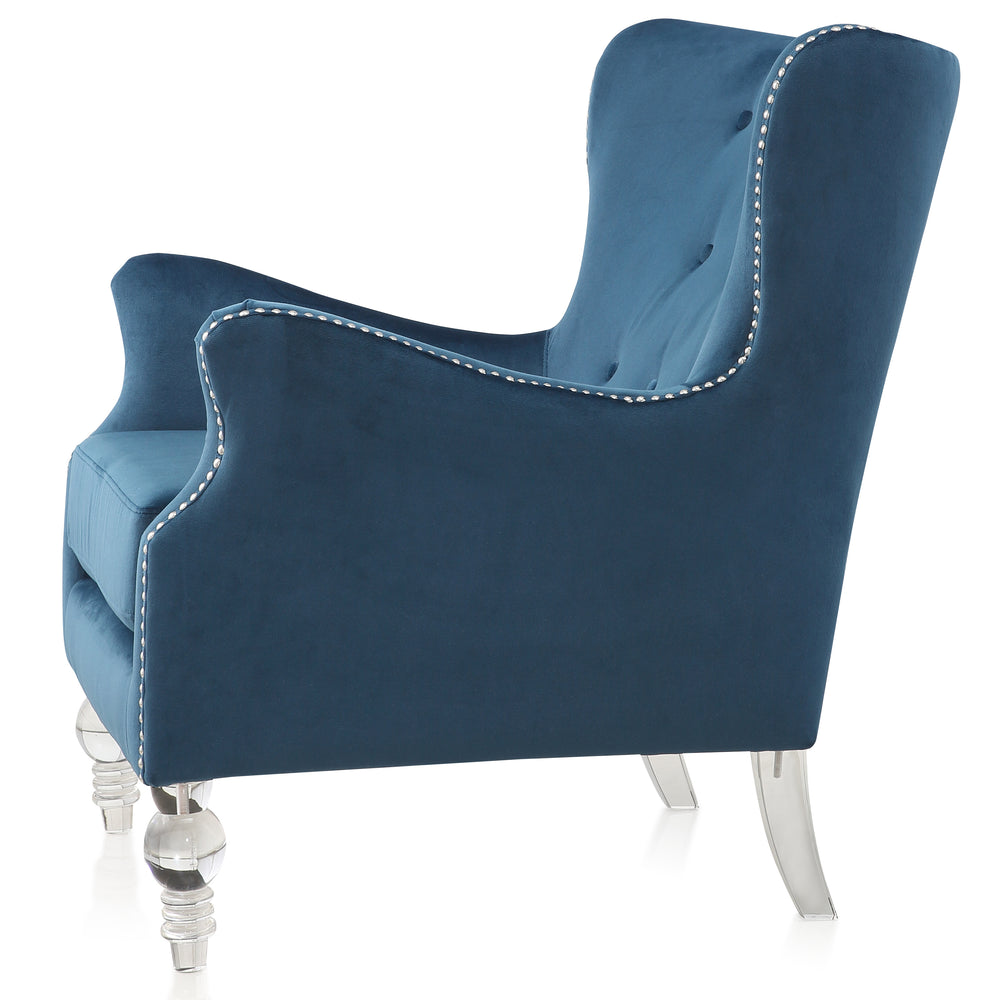 M68 Tufted Armchair In Velvet With Lucite Legs
