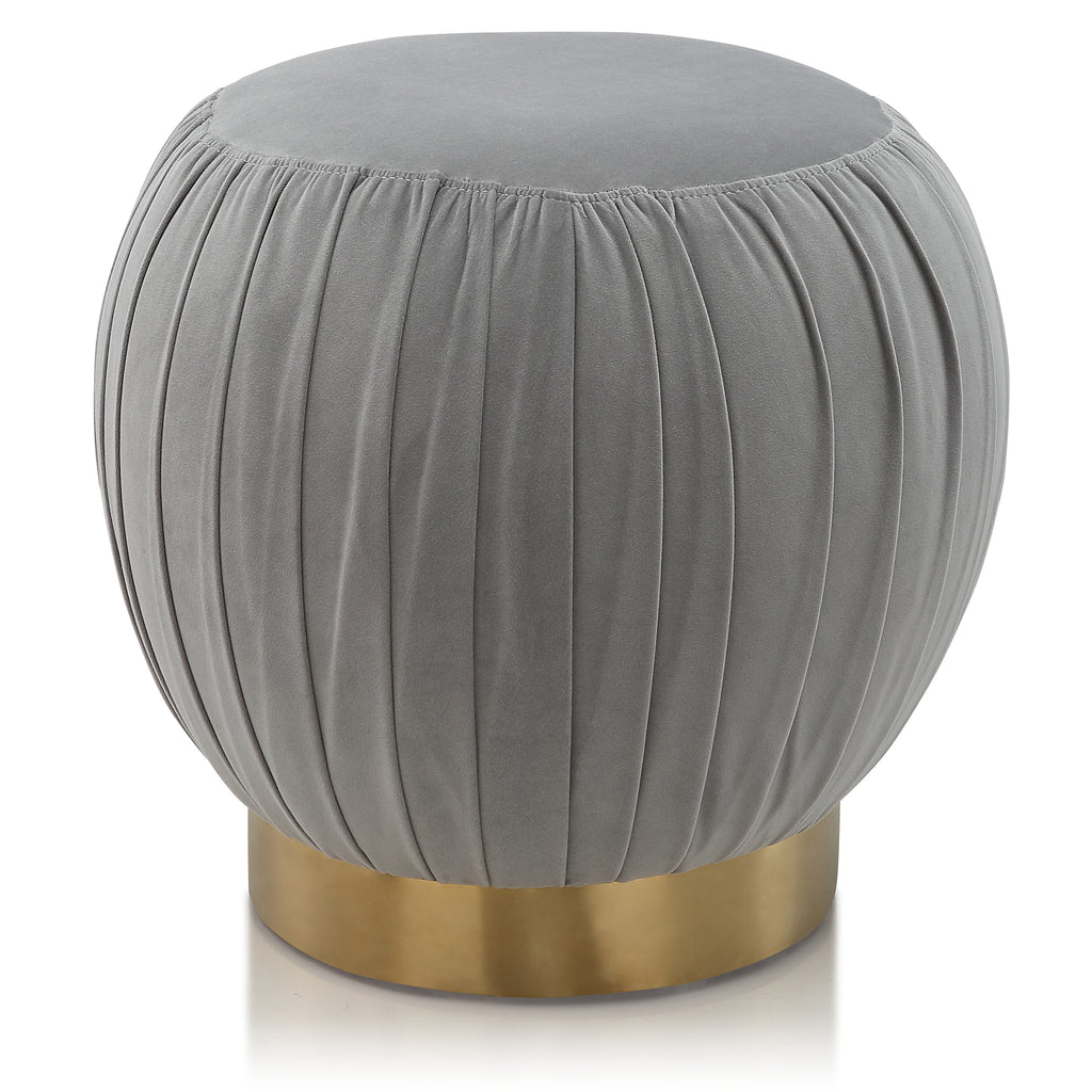 M70 Round Ottoman In Velvet With Gold Cylinder Base
