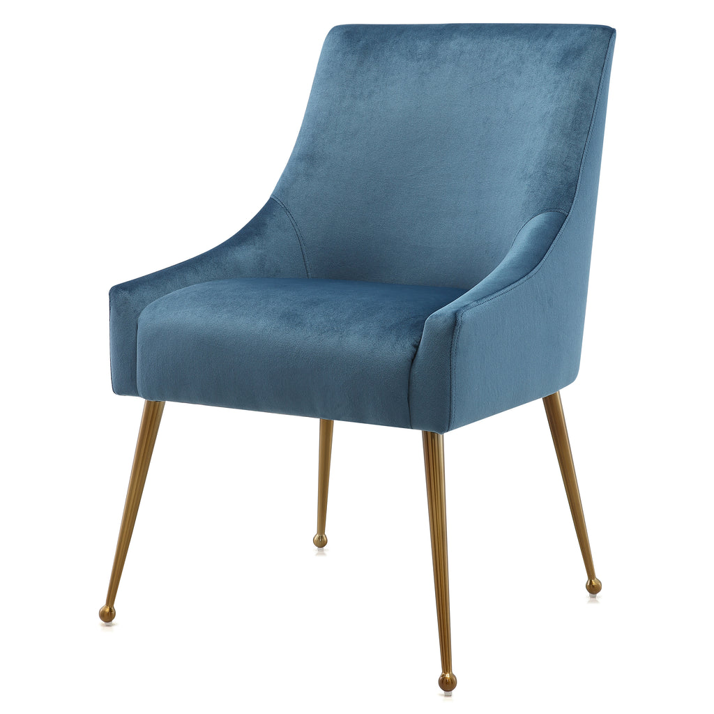 M74 Dining Chair In Velvet With Gold Legs