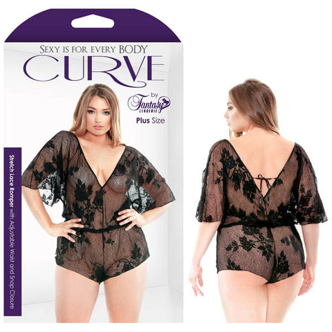Picture of CURVE STRETCH LACE ROMPER WITH ADJUSTABLE WAIST & SNAP CLOSURE