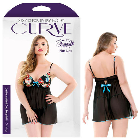 Picture of CURVE DAHLIA MOLDED CUP BABYDOLL & G-STRING