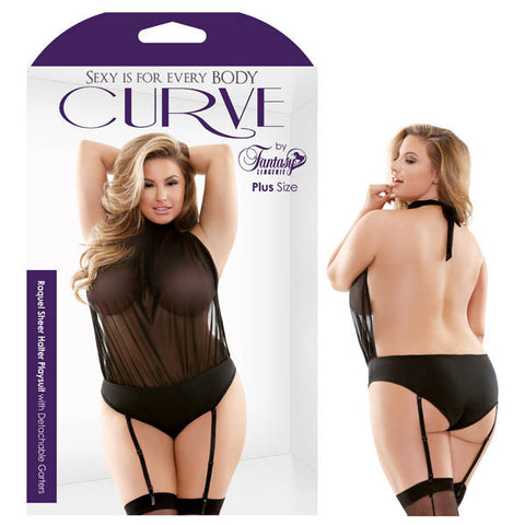 Picture of Curve Raquel Sheer Halter Playsuit with Detachable Garters