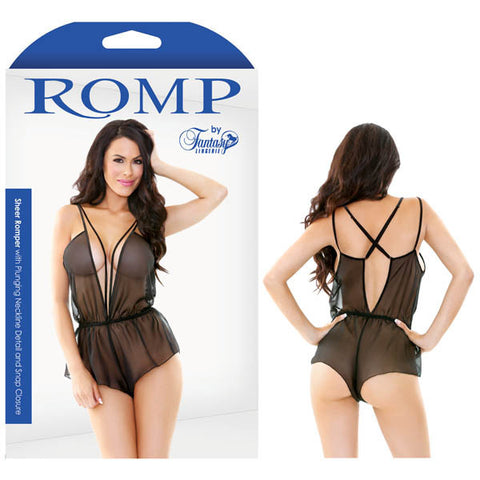 Picture of Romp Sheer Romper With Plunging Neckline Detail & Snap Closure