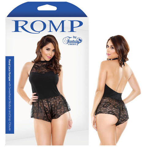 Picture of ROMP FLORAL LACE ROMPER WITH SWEETHEART BODICE AND SNAP CLOSURE