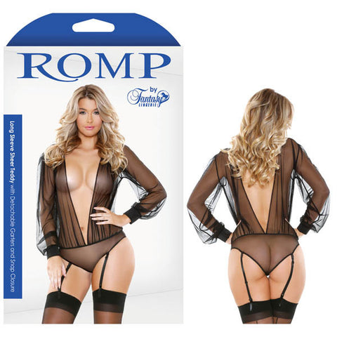 Picture of ROMP LONG SLEEVE SHEER TEDDY WITH DETACHABLE GARTERS & SNAP CLOSURE
