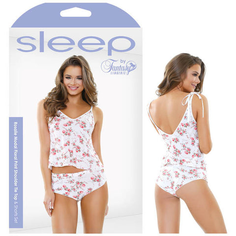 Picture of Sleep Rosalie Modal Floral Print Shoulder Tie Top & Shorts Set