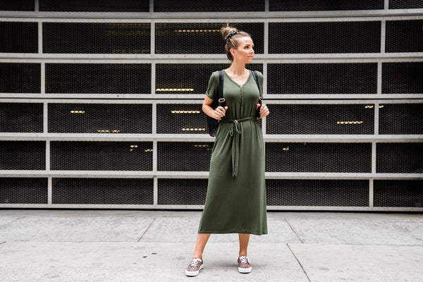 olive green henley dress