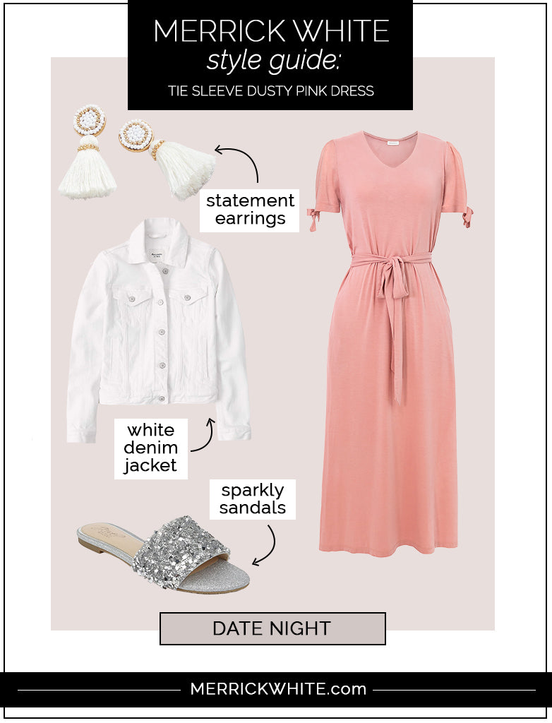 dusty pink midi dress styling ideas