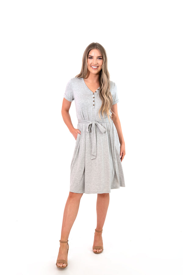 nursing gray henley t-shirt dress