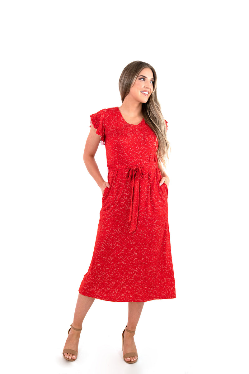 red ruffle sleeve midi dress