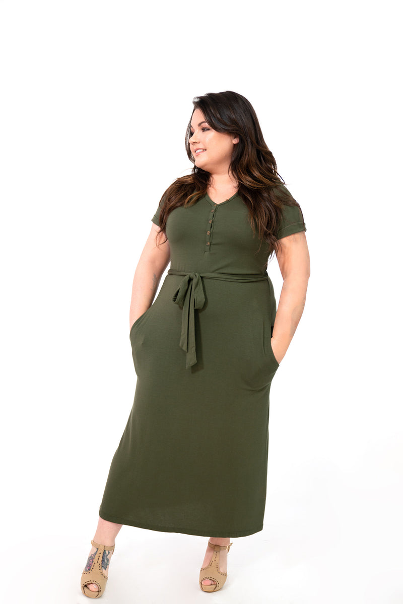 MW Anywhere Henley Dress in Olive Green