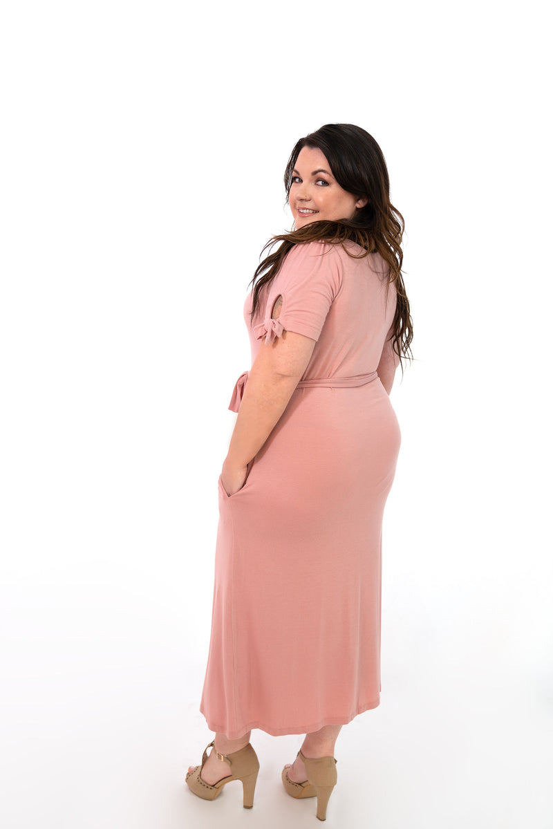 MW Anywhere Tie Sleeve Dress in Dusty Pink