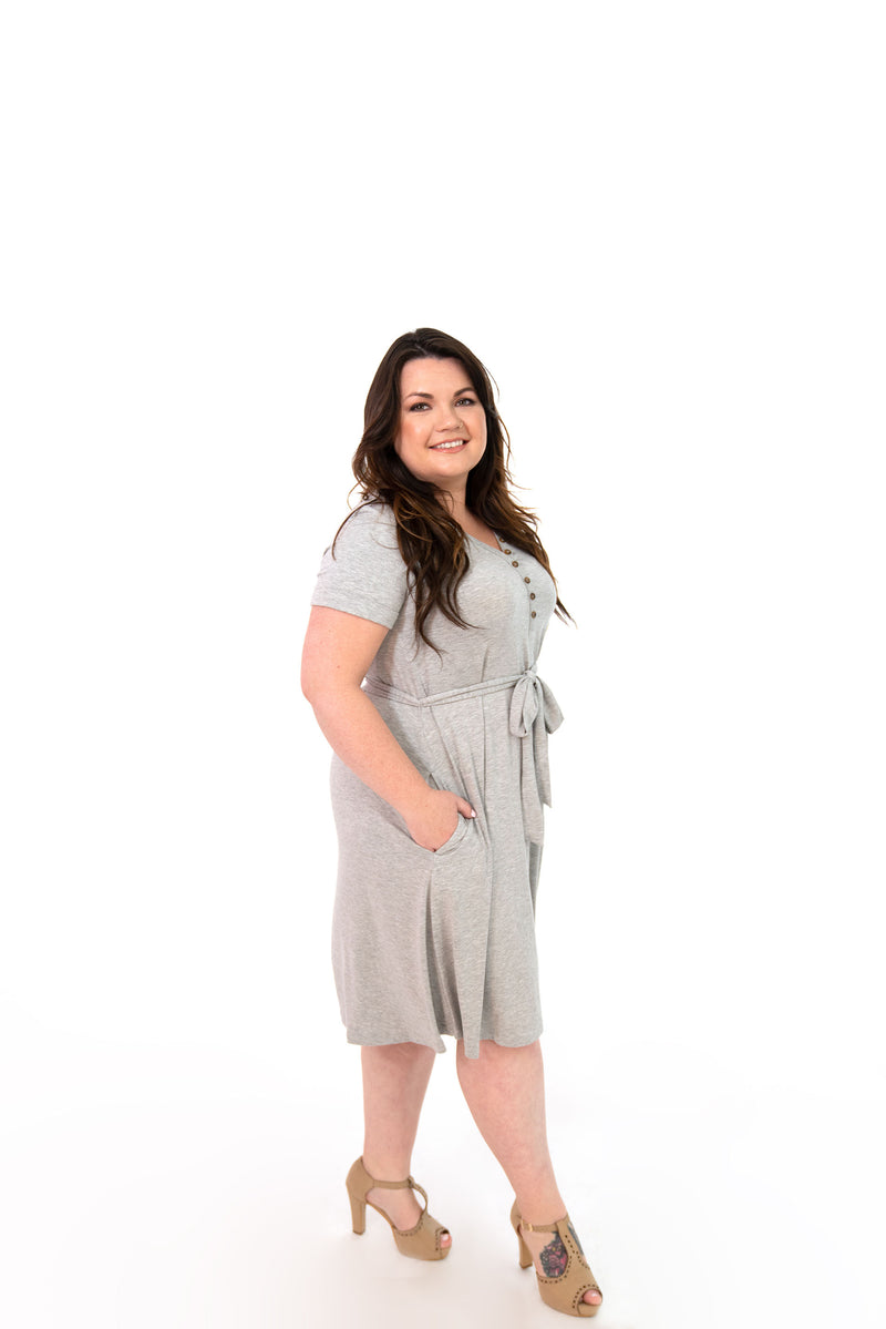 MW Anywhere Henley Dress in Gray