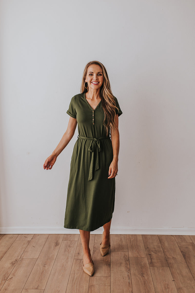 Olive green henley t-shirt dress