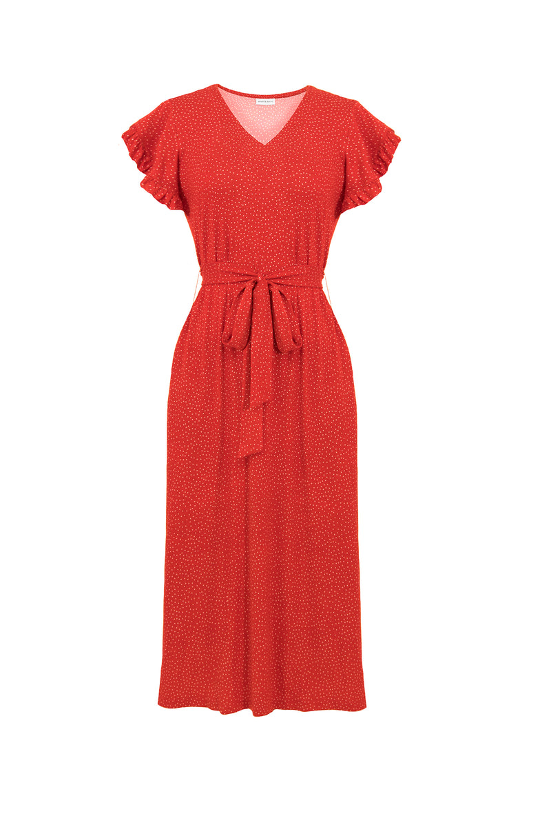 SOLD OUT - MW Anywhere Ruffle Sleeve Dress in Fiesta Red
