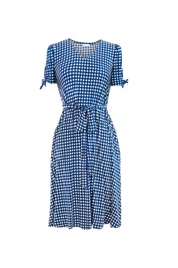 gingham tie sleeve t-shirt dress