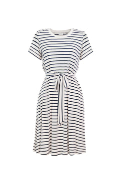 striped crew neck t-shirt dress
