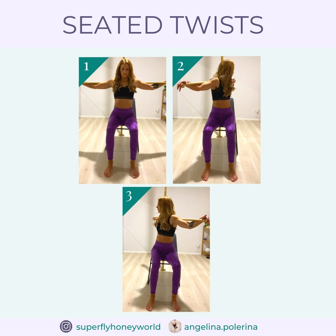 Pole Fitness Exercise: Seated Twists