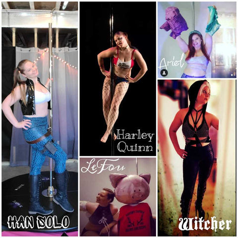 collage of various costumes for pole competitions. From left or right: Han Solo, Harley Quinn, Lefou, Ariel, and Witcher.