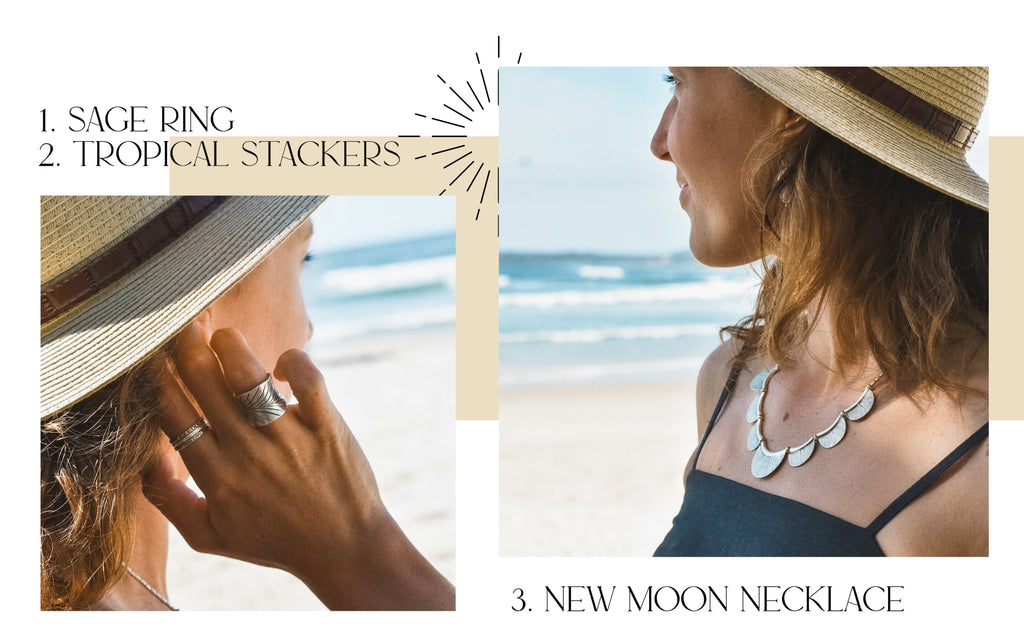 Sage ring, tropical stackers and new moon necklace