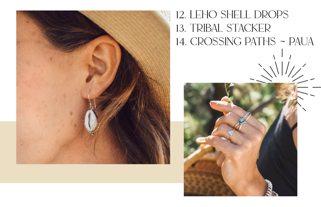 Leho Shell Drops, Tribal Stacker and Crossing Paths Paua Shell ring