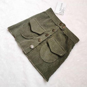 Khaki Corduroy Mini Skirt