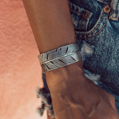 Silver Feather Cuff