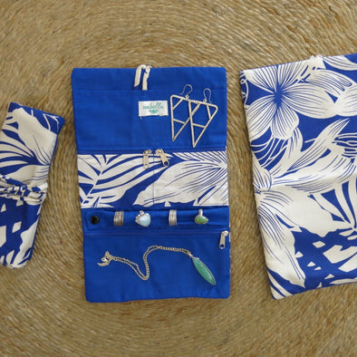 Jewellery Bag - Tropical Days Blue
