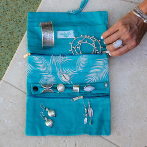 Jewellery Bag - Turquoise Leaves