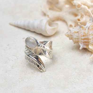 Moonstone Feather Wrap Ring