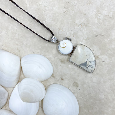Howlite and Periwinkle Pendant