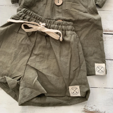 Kid's Loose Linen Shorts - Khaki Green