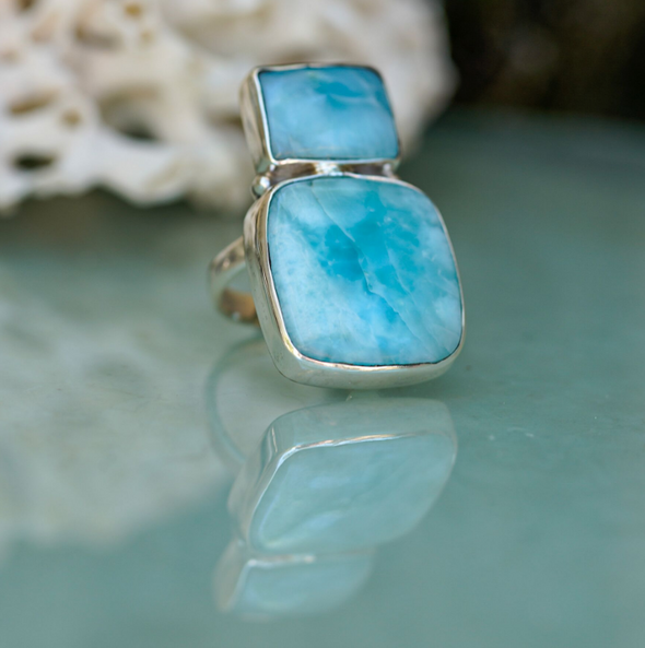 Larimar Double Bar Ring 6 - Size 58