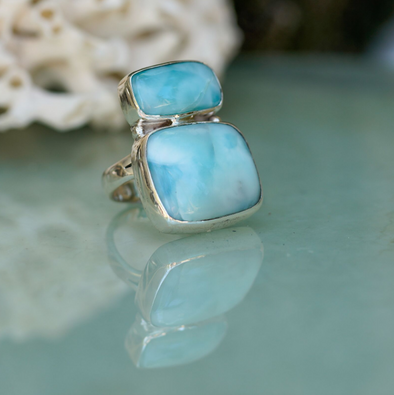 Larimar Double Bar Ring 11 - Size 56