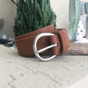 Leather Belt Thick with Silver Buckle