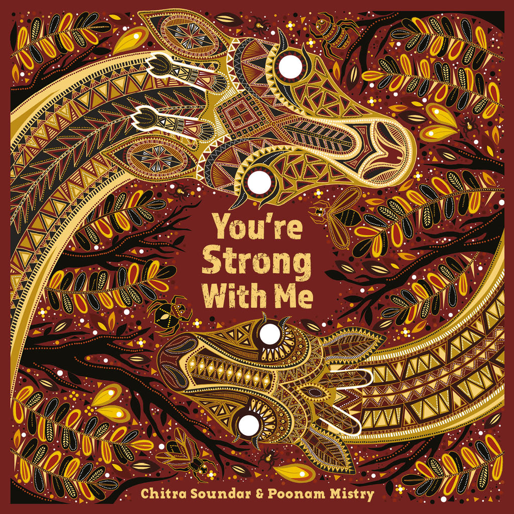 Cover image of diverse book You're Strong With Me by Chitra Soundar and Poonam Mistry showing two stylised mosaic giraffes