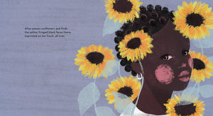 An illustration from A Story About Afiya by James Berry showing a close-up of rosy-cheeked Afiya surrounded by sunflowers