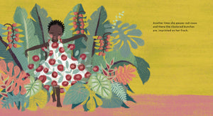 An illustration from diverse book A Story About Afiya showing Afiya with red roses growing from her white dress
