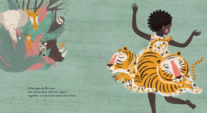 An illustration from diverse picture book A Story About Afiya by James Berry showing tigers on Afiya's dress