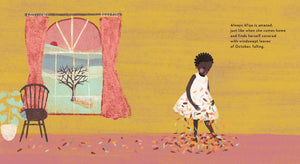 An illustration from A Story About Afiya by James Berry showing Afiya shaking off autumn leaves from her white dress