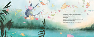 An illustration from picture book Boundless Sky of a flying sparrow flying amongst many butterflies