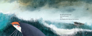 An illustration from inclusive picture book Boundless Sky showing a tired sparrow crossing an angry sea, and in the background a boat of refugees attempting to make the same crossing