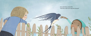 An image from diverse book Boundless Sky of a white boy and a black girl welcoming a migrating sparrow home
