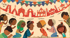 From diverse children's book I Am Brown by Ashok Banker, an illustration showing the different world religions