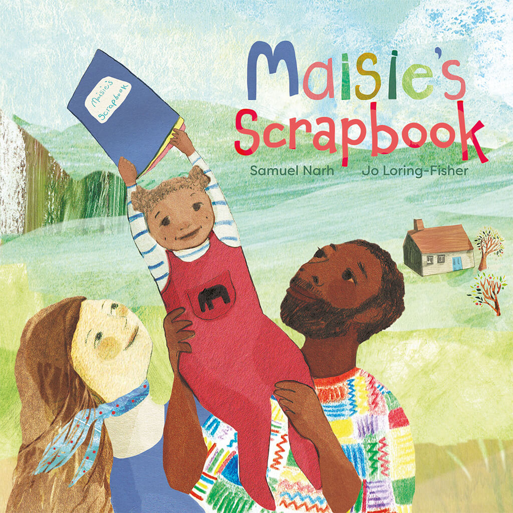 On the cover of Maisie's Scrapbook is a loving mixed race family