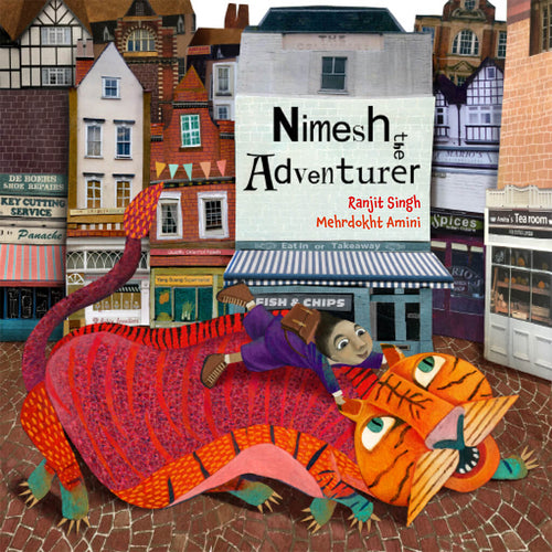 A British Indian boy rides a fantastical tiger down the streets of a London suburb on the cover of Nimesh the Adventurer