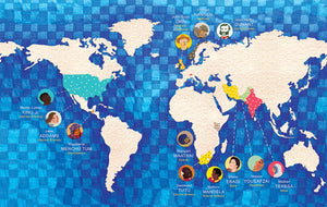 The map of the world shows where each of the twelve Nobel Peace Prize laureates featured in Peace and Me did their peace work