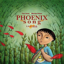 Load image into Gallery viewer, On the cover of diverse book Phoenix Song, a Malaysian boy holding a magic Chinese flute gazes up at the sky as red phoenix feathers float around him
