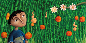 In a scene from Phoenix Song, a Malaysian boy stands within a flowering bamboo grove, gazes up at the sky and listens