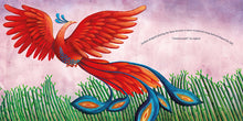 Load image into Gallery viewer, In a scene from Phoenix Song, a red, orange and blue Malaysian phoenix soars above a bamboo grove